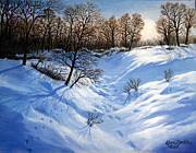 Winterscape Painting Originals - Crossing Paths by Karen Barton