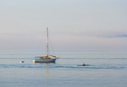 Sailboat Metal Prints - Crossing Paths Metal Print by Mike  Dawson