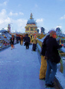 London England  Digital Art - Crossing The Bridge To Saint Pauls by Jenny Armitage