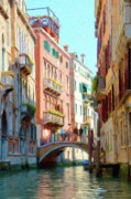 Venetian Balcony Posters - Crossing the Canal Poster by Jeff Kolker