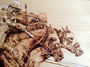 Horse Racing Pyrography - Crossing the Line by Paper Horses Jacquelynn Adamek