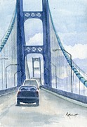 Bridge Painting Originals - Crossing the Mackinac by Marsha Elliott