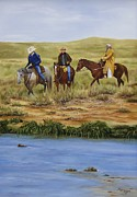 Trail Ride Posters - Crossing the Pecos Poster by Mary Rogers