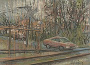 Train Drawings Originals - Crossing the Tracks by Donald Maier