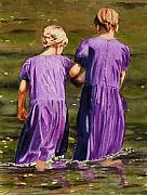 Sisters Paintings - Crossing The Water by John W Walker