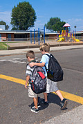 Crosswalk Photos - Crossing to school by Joe Belanger