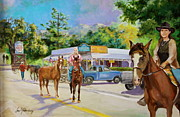 Horse Riders Painting Originals - Crossroads Horse Traffic by Jan Mecklenburg
