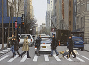 Crosswalk Painting Framed Prints - Crosswalk Framed Print by Linda Tenukas