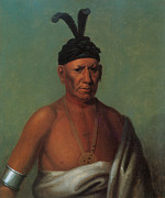 American Indian Portrait Prints - Crouching Eagle Print by Henry Inman