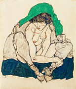 Schiele Drawings - Crouching Girl with green shawl by Pg Reproductions