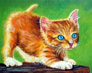 Dottie Prints - Crouching Kitty Print by Dottie Dracos