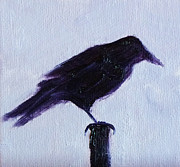 Painted Feathers Paintings - Crow #1 by Nancy Merkle