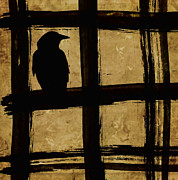 Window Bars Prints - Crow and Golden Light Number 1 Print by Carol Leigh