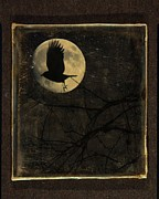 Crow Art Framed Prints - Crow And The Moon Framed Print by Gothicolors And Crows