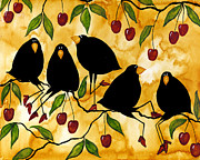 Blackbirds Painting Posters - Crow Bird Blackbird Raven Wildlife Animal Cherry Tree Italian Whimsical Folk Debi Hubbs Children Art Poster by Debi Hubbs