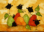 Pear Art Framed Prints - Crow Bird Blackbird Raven Wildlife Animal Pear Italian Whimsical Folk Debi Hubbs Children Art Framed Print by Debi Hubbs