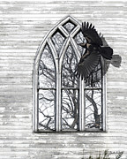 Judy Wood Digital Art Posters - Crow Church Poster by Judy Wood