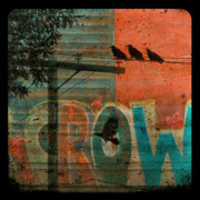 Telephone Wires Framed Prints - Crow Graffiti  Framed Print by Gothicolors And Crows