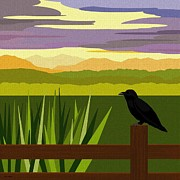 Purple Clouds Prints - Crow in the Corn Field Print by Val Arie
