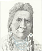Indian Pastels Posters - Crow Indian Chief Poster by Linda Taylor