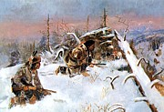 Reproduction  - Crow Indians Hunting Elk