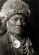 Edward Curtis Prints - Crow Man One Blue Bead Print by The  Vault