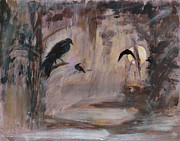 Moonscape Paintings - Crow Moon by Ethel Vrana