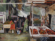 Choosing Painting Metal Prints - Crowded Marketplace Metal Print by Kwan Yuen Tam