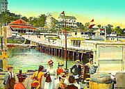 Amusement Parks Paintings - Crowds At The Amusement Area In Rocky Point Ri In 1910 by Dwight Goss
