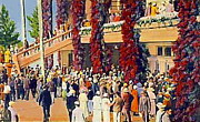 Jockey Paintings - Crowds At The Jockey Club In Miami Fl 1930 by Dwight Goss