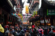 Throng Posters - Crowds throng Shanghai Chenghuang Miao Temple over Lunar New Year China Poster by Imran Ahmed