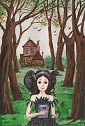 Haunted House Print Prints - Crowgirl Print by Margaryta Yermolayeva