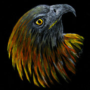 Yellow Beak Painting Metal Prints - Crowhawk Original Metal Print by Peter Piatt
