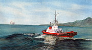 Water Vessels Paintings - Crowley Tug by Sandy Linden