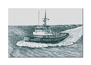 Steel Drawings Posters - Crowley Tugboat ocean going GLADIATOR Poster by Jack Pumphrey