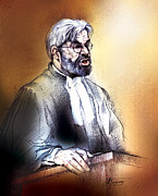 Lawyer Drawings - Crown Attorney Jim Hughes at his closing address during Paul Poby trial by Alex Tavshunsky