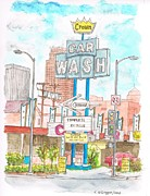 Cards Vintage Painting Prints - Crown Car Wash in Pico Blvd-Century City-California Print by Carlos G Groppa