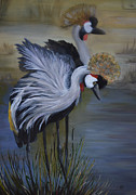 Nancy Bradley Painting Originals - Crowned Cranes by Nancy Bradley