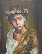Turk Painting Originals - Crowned Girl by Senol KARAKAYA