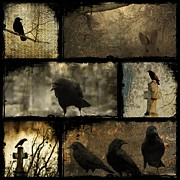 Gothic Crows Posters - Crows And One Rabbit Poster by Gothicolors And Crows