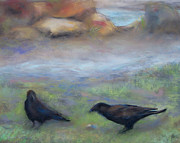 Crows Pastels - Crows at the Park by Jackie Bush-Turner
