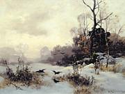 Crows In A Winter Landscape Print by Karl Kustner