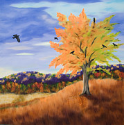 Crows Paintings - Crows In The Orange Tree by Annie Horkan