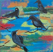 Crows Paintings - Crows by Laura Webb