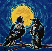 Christine Karron Metal Prints - Crows Night Metal Print by Christine Karron