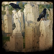 Gothic Crows Prints - Crows On Tombstones Print by Gothicolors And Crows