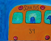 Crows Paintings - Crows Wanna Go School by Bonnie Bardos
