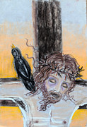 Jesus Drawings - Crucified Christ with Crow by Anne Cameron Cutri