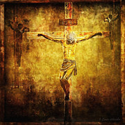 Statues Digital Art Prints - Crucified Via Dolorosa 12 Print by Lianne Schneider