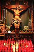 Quebec Photographer Prints - Crucifix at Notre Dame Print by John Rizzuto